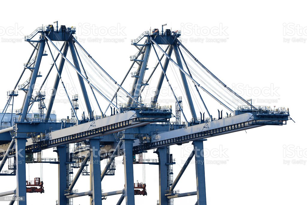 Crane of freight dock isolated on white background stock photo