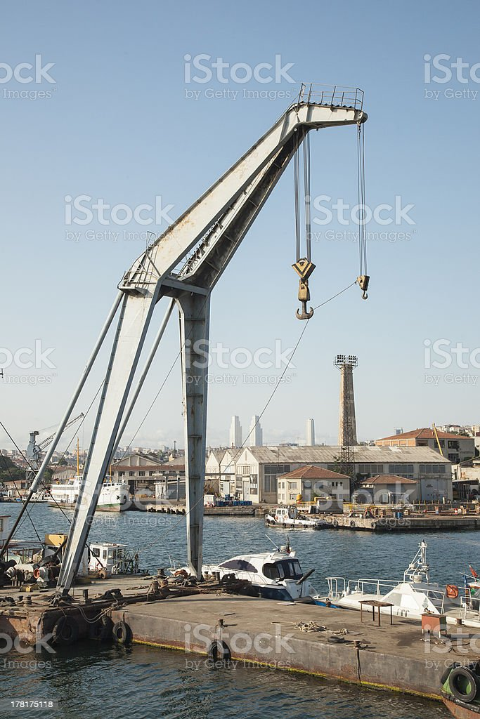 Crane on seaside royalty-free stock photo