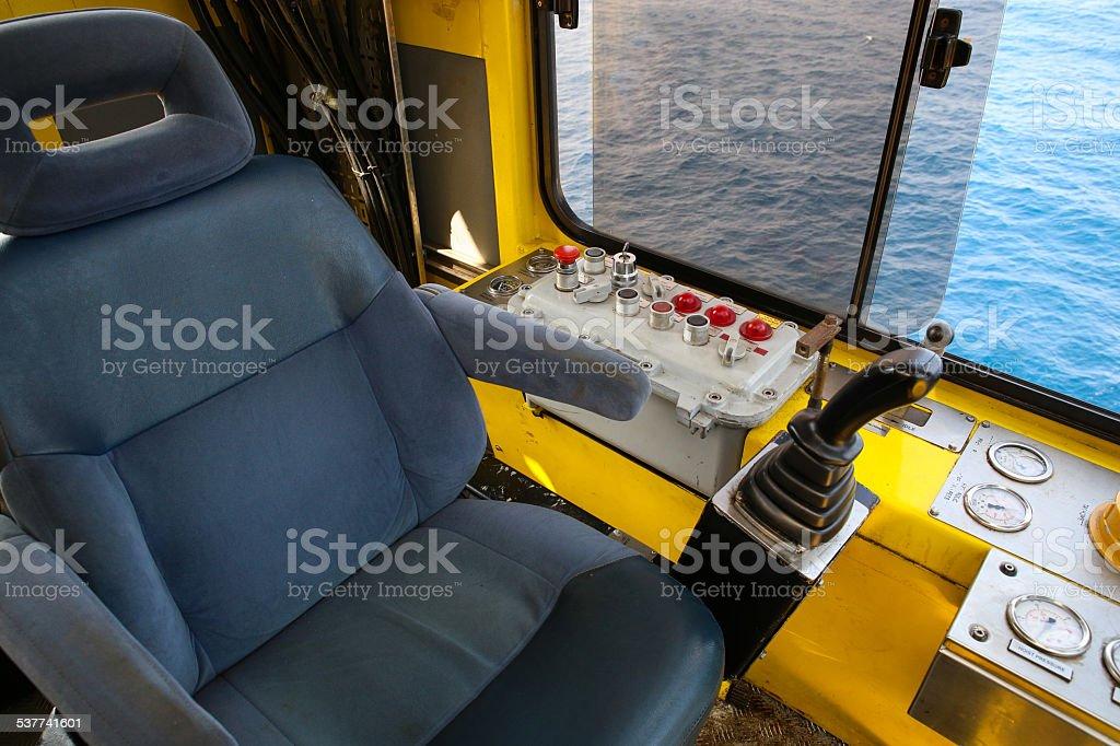 Crane operation cabin for control all equipment of crane. stock photo