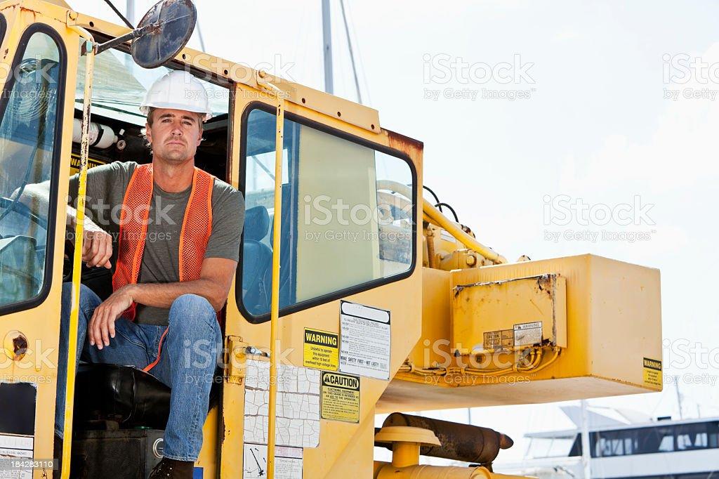 Crane operator stock photo