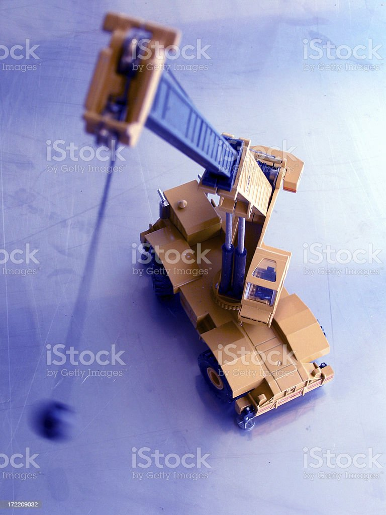 crane swings ball stock photo