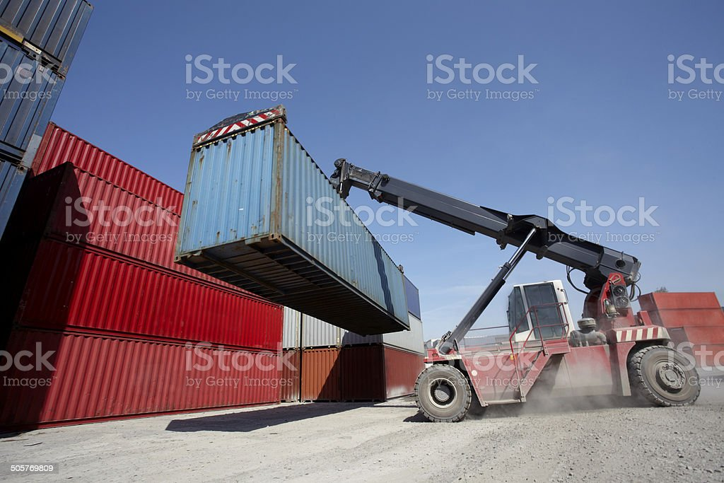 Crane with container royalty-free stock photo