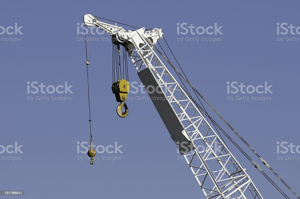 Crane with pulley and hook royalty-free stock photo