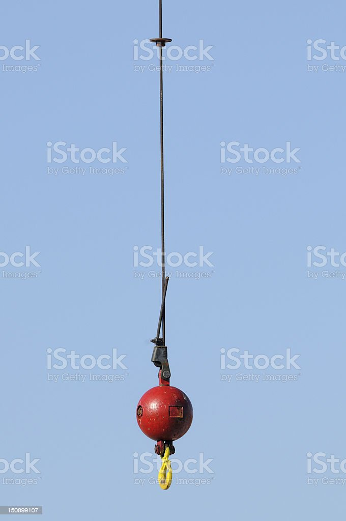Crane wrecking ball and hook stock photo