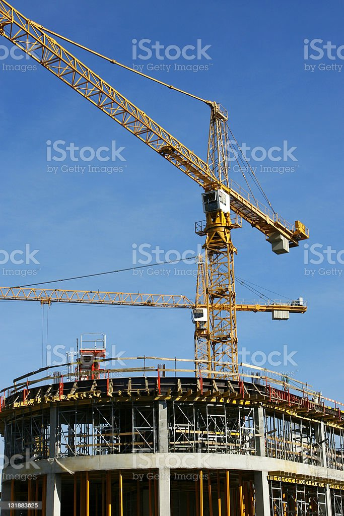 Cranes and building construction royalty-free stock photo