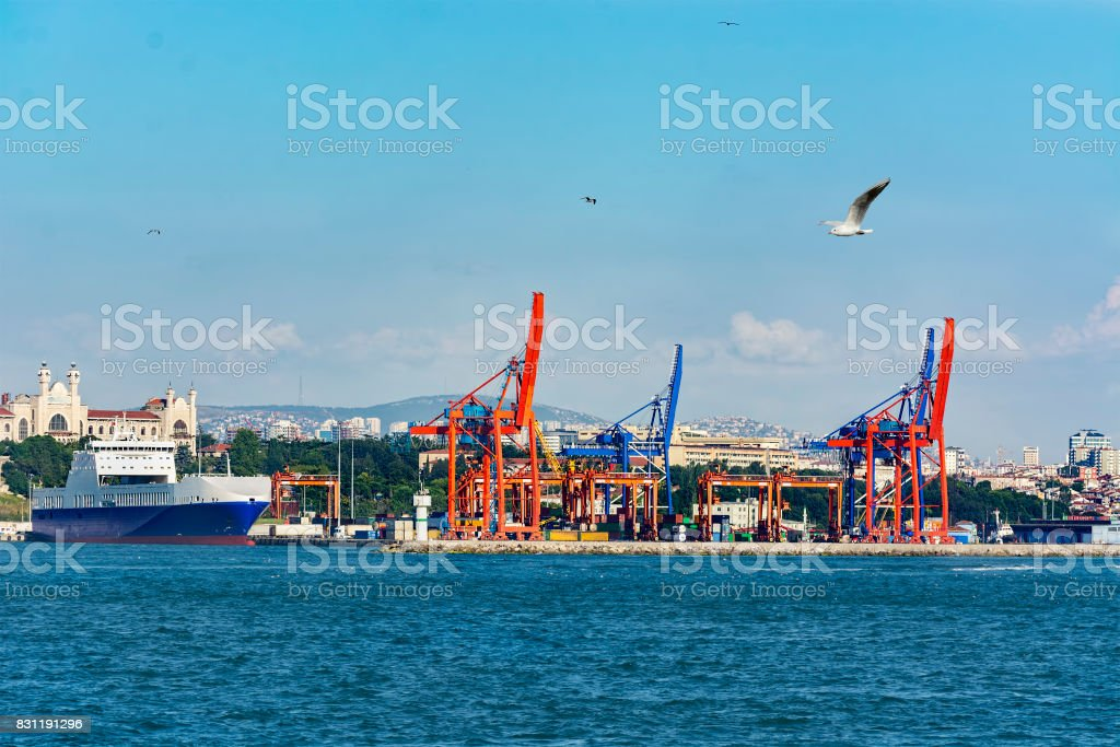 Cranes and freight vessel in Haydarpasa port.Istanbul , TURKEY stock photo
