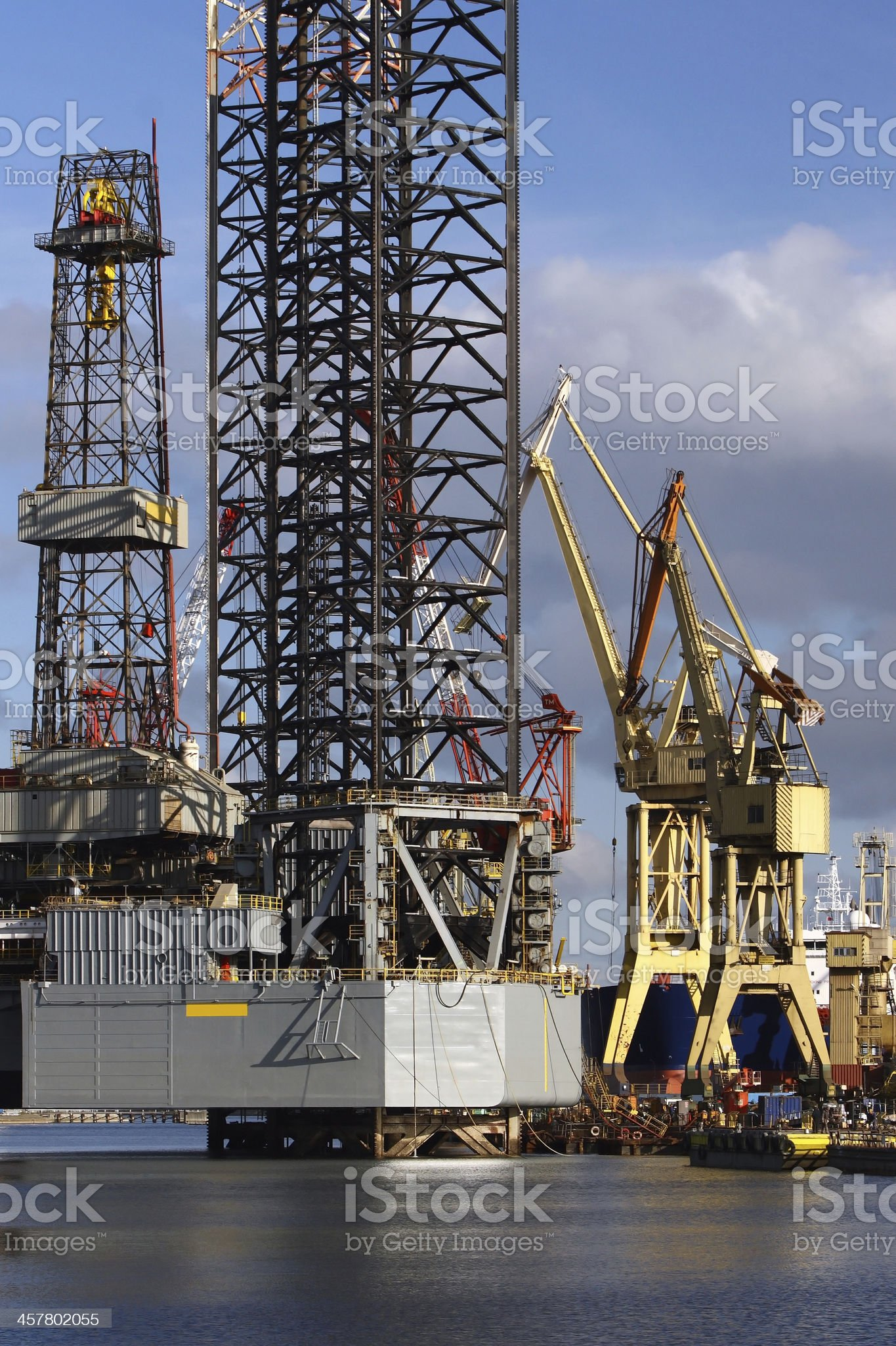 Cranes and Oil Platform royalty-free stock photo