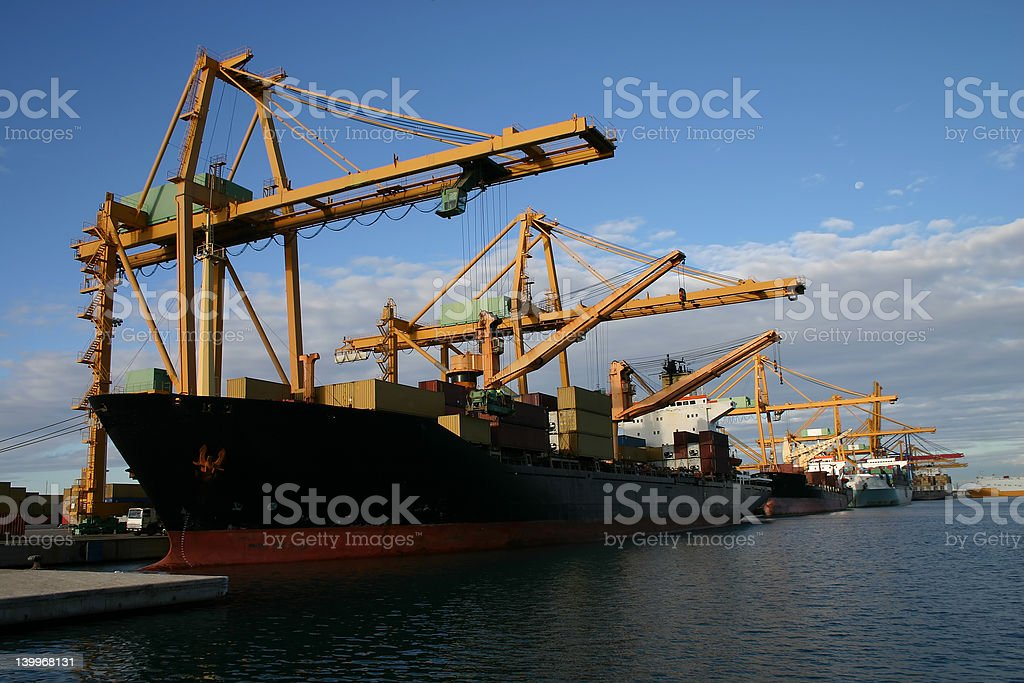 cranes and Ships royalty-free stock photo