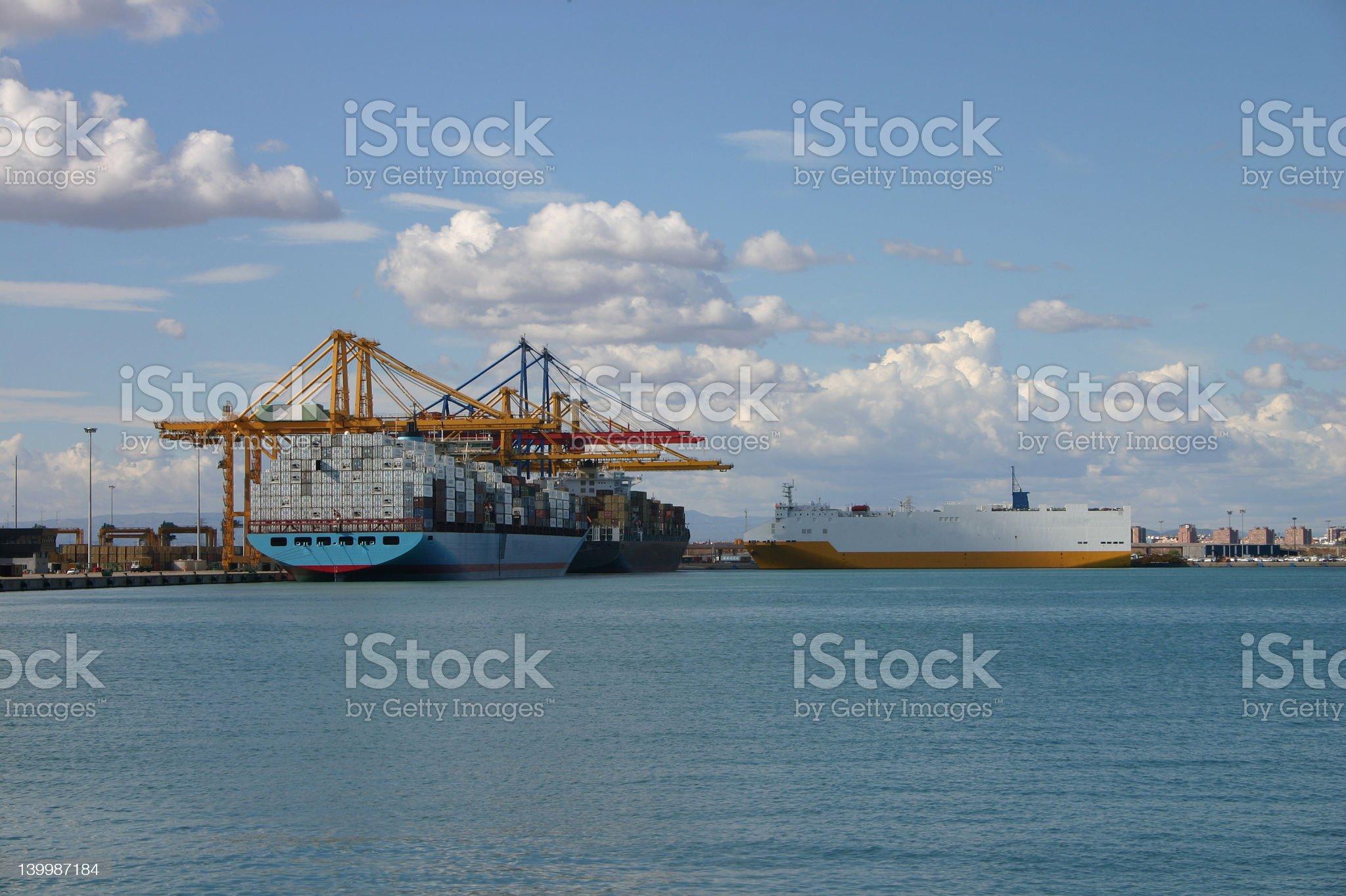 cranes and Ships royalty-free stock photo