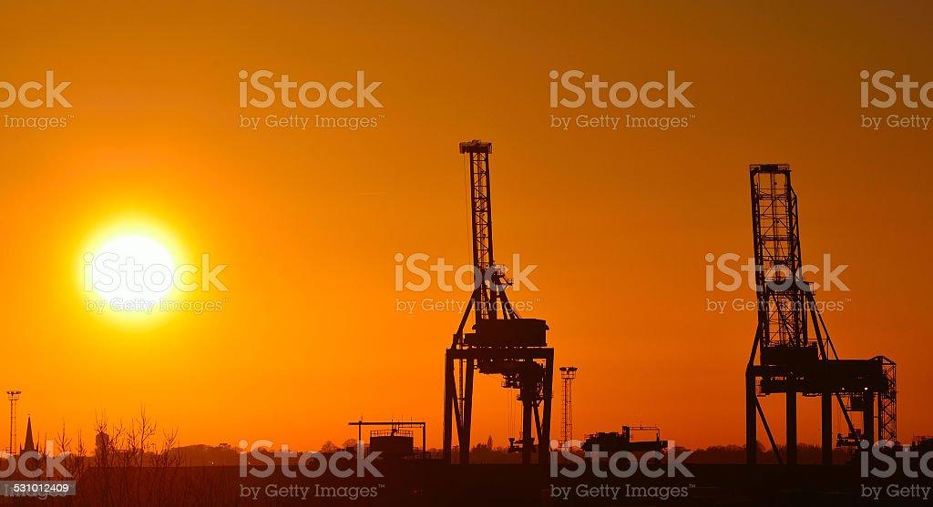 Cranes at Sunset Felixstowe stock photo