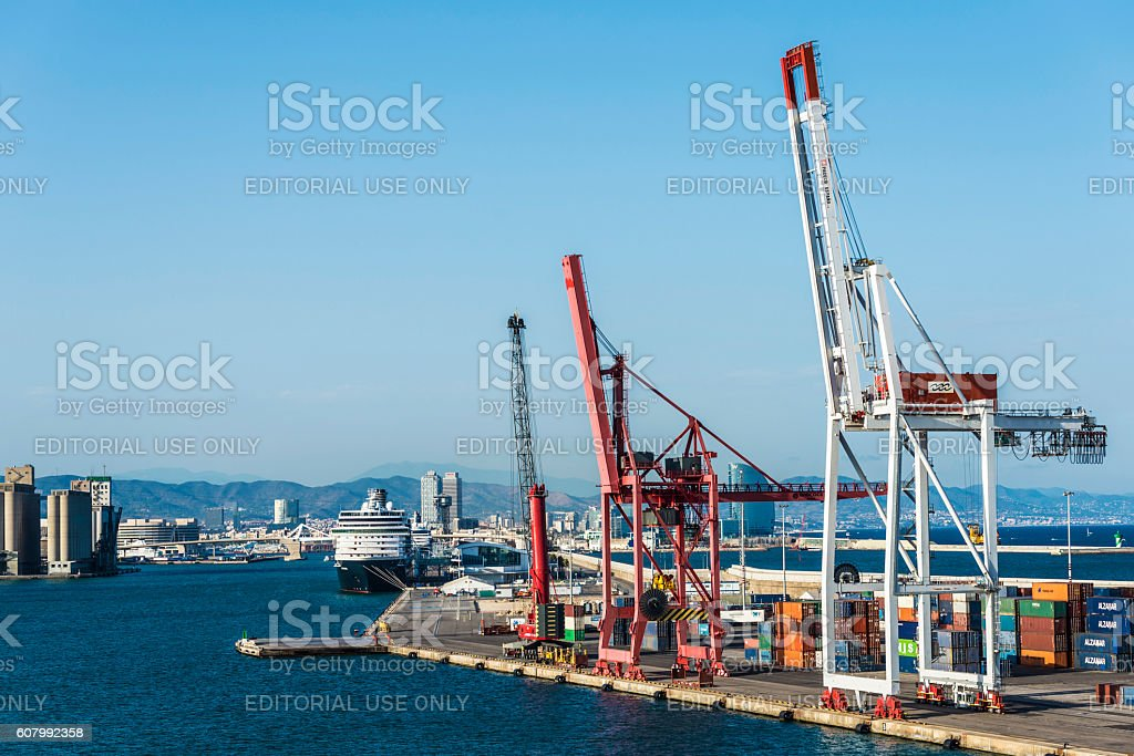 Cranes at the port of Barcelona, Spain stock photo