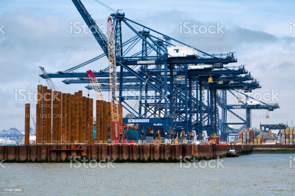 Cranes at the Port of Felixstowe stock photo