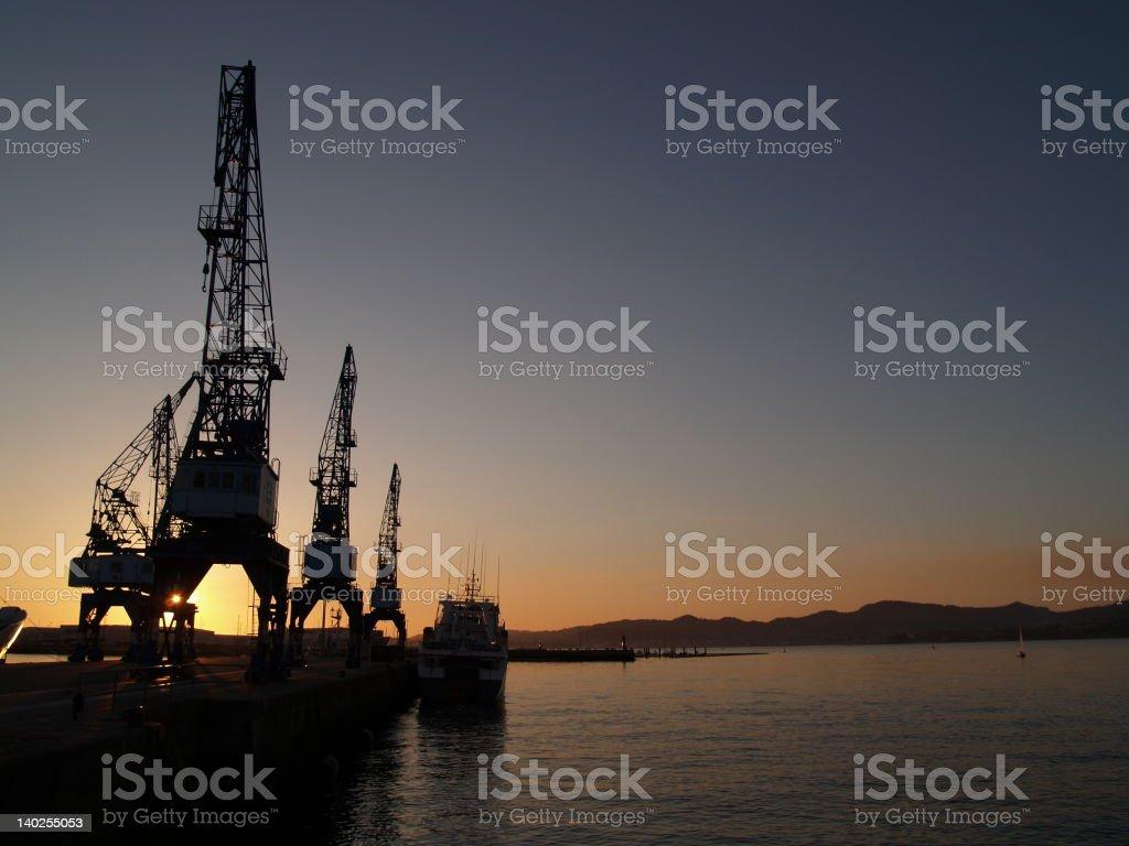cranes at vigo's port royalty-free stock photo
