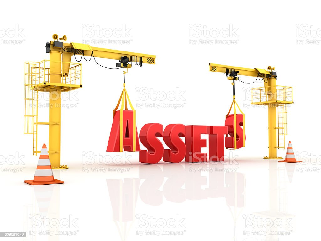 Cranes building the ASSETS Word stock photo