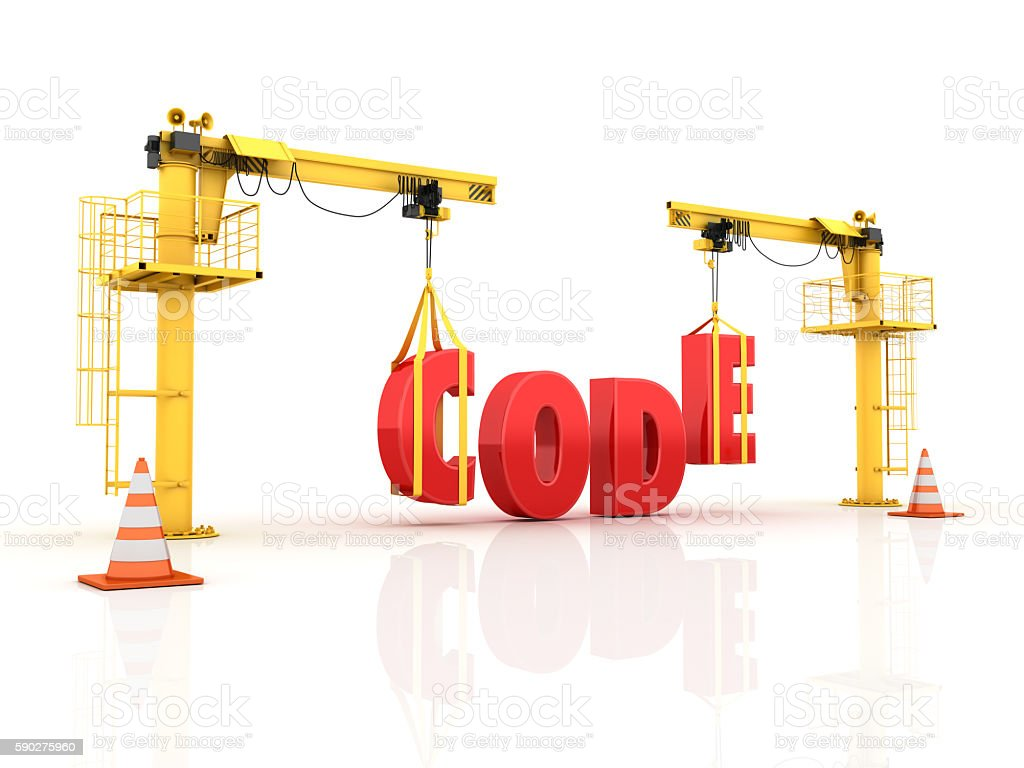 Cranes building the CODE Word stock photo