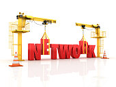 Cranes building the NETWORK Word