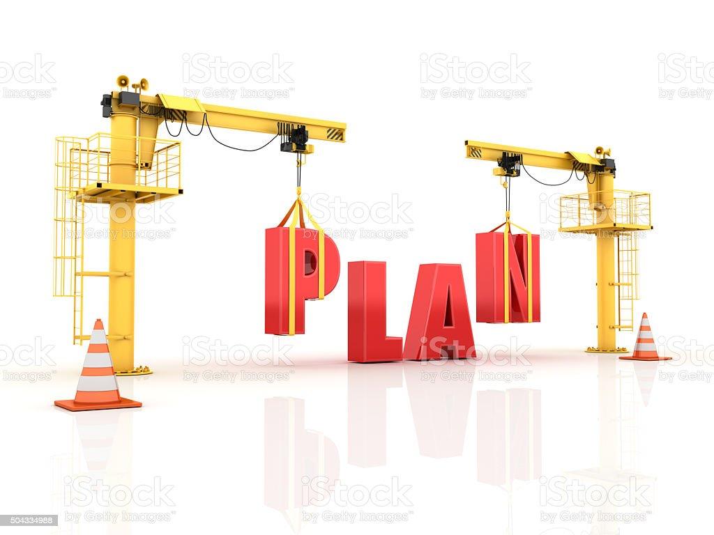 Cranes building the PLAN Word stock photo