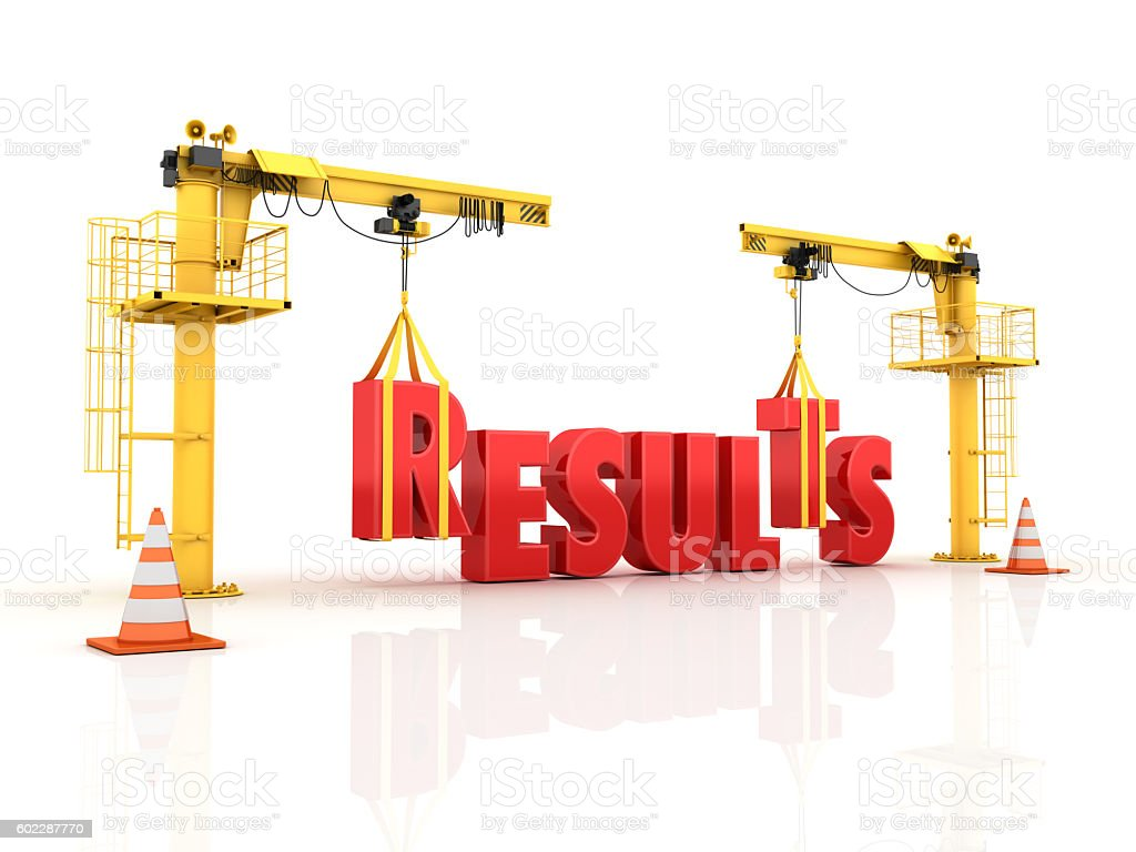 Cranes building the RESULTS Word stock photo
