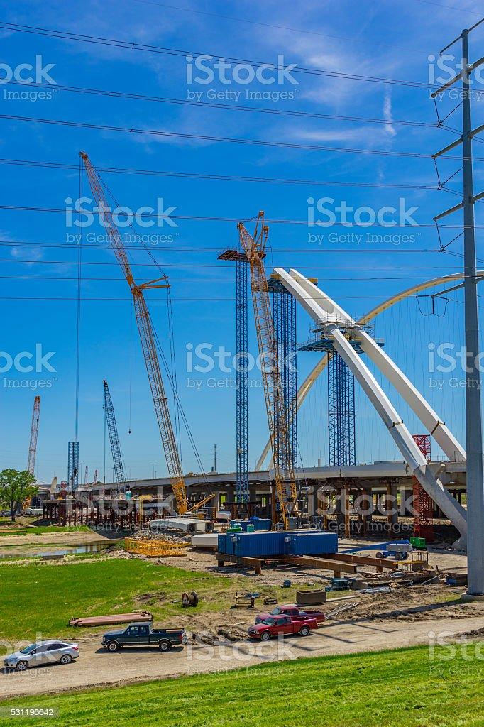 Cranes constructing freeway bridge, Dallas Texas(P) stock photo