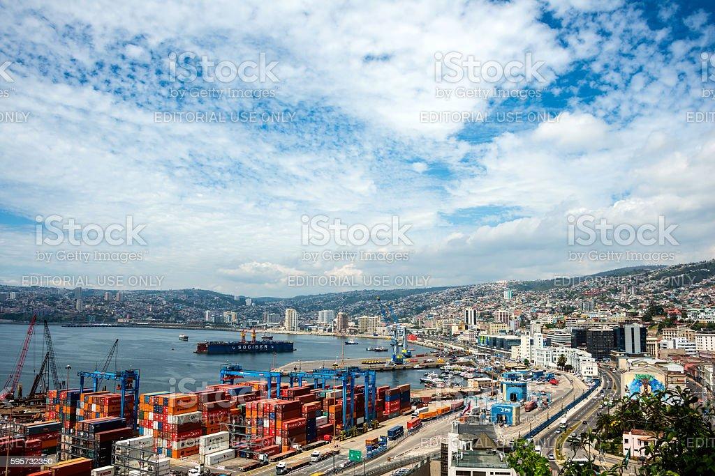 Cranes in a port of Valparaiso stock photo