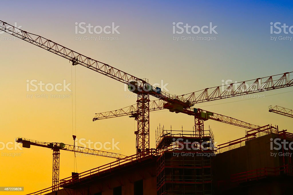 cranes in Berlin stock photo