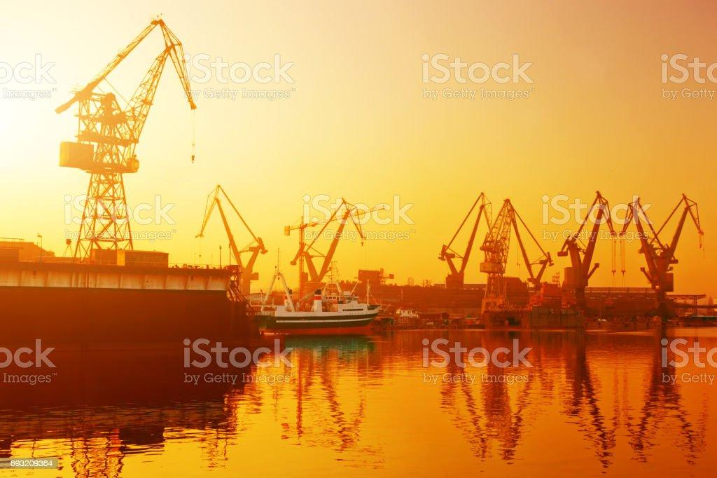 Cranes in historical shipyard in Gdansk, Poland stock photo