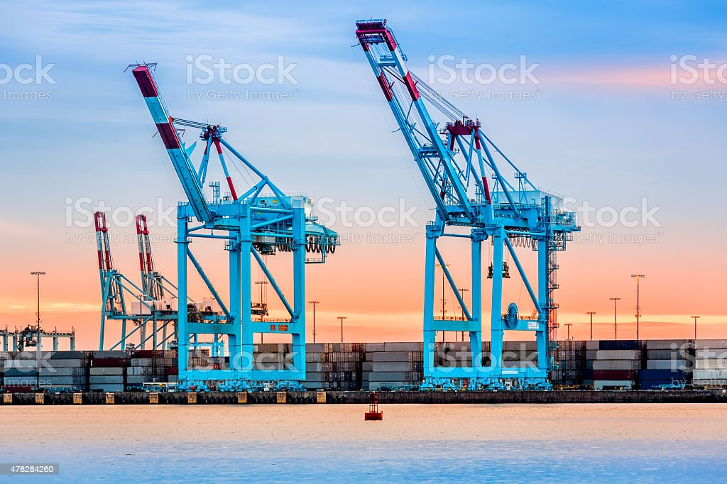 Cranes in Newark-Elizabeth marine terminal stock photo