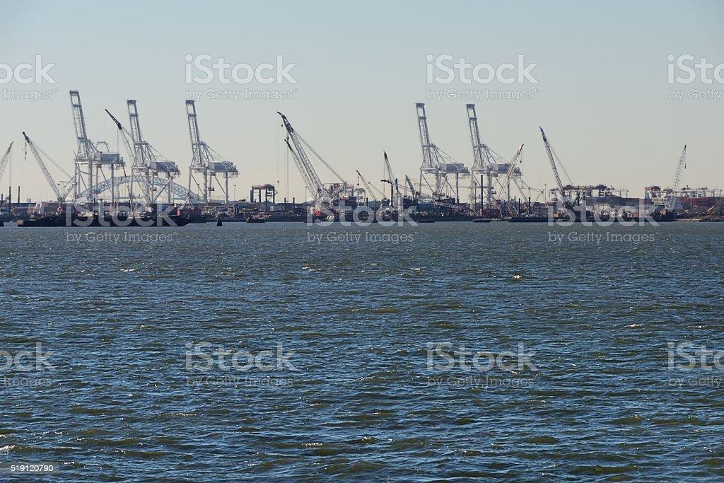 Cranes in shipyard stock photo