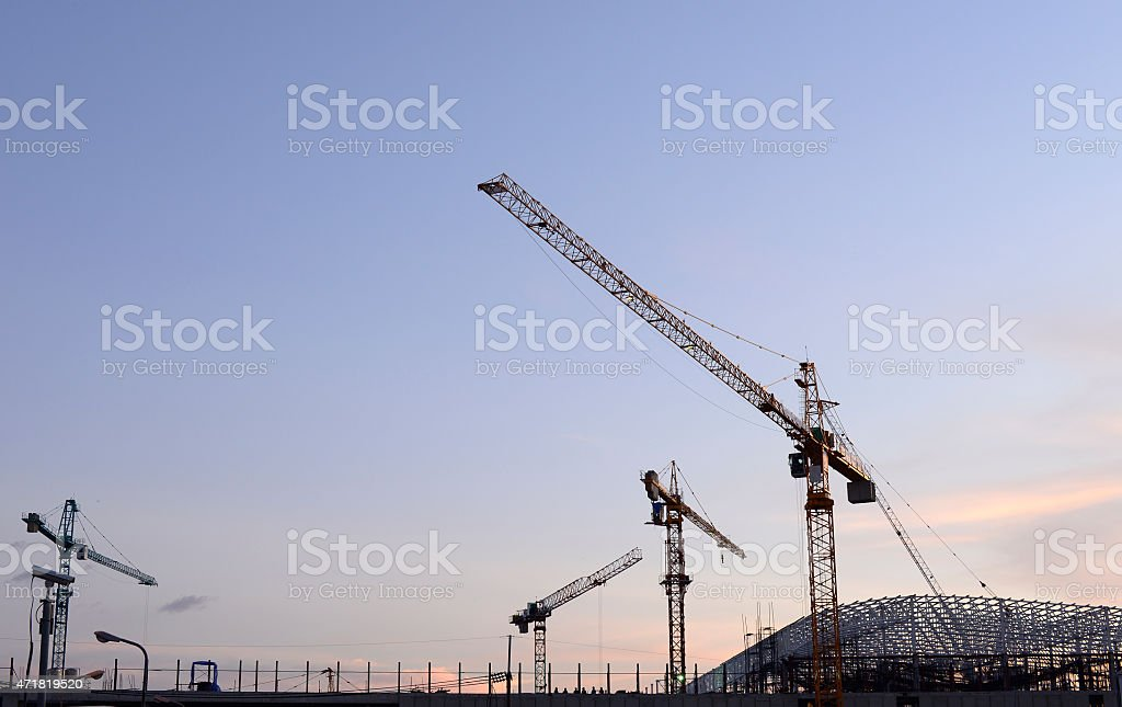 Cranes in the construction of large buildings. stock photo