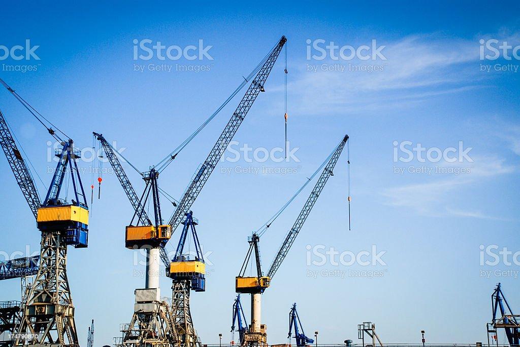 Cranes in the harbor stock photo