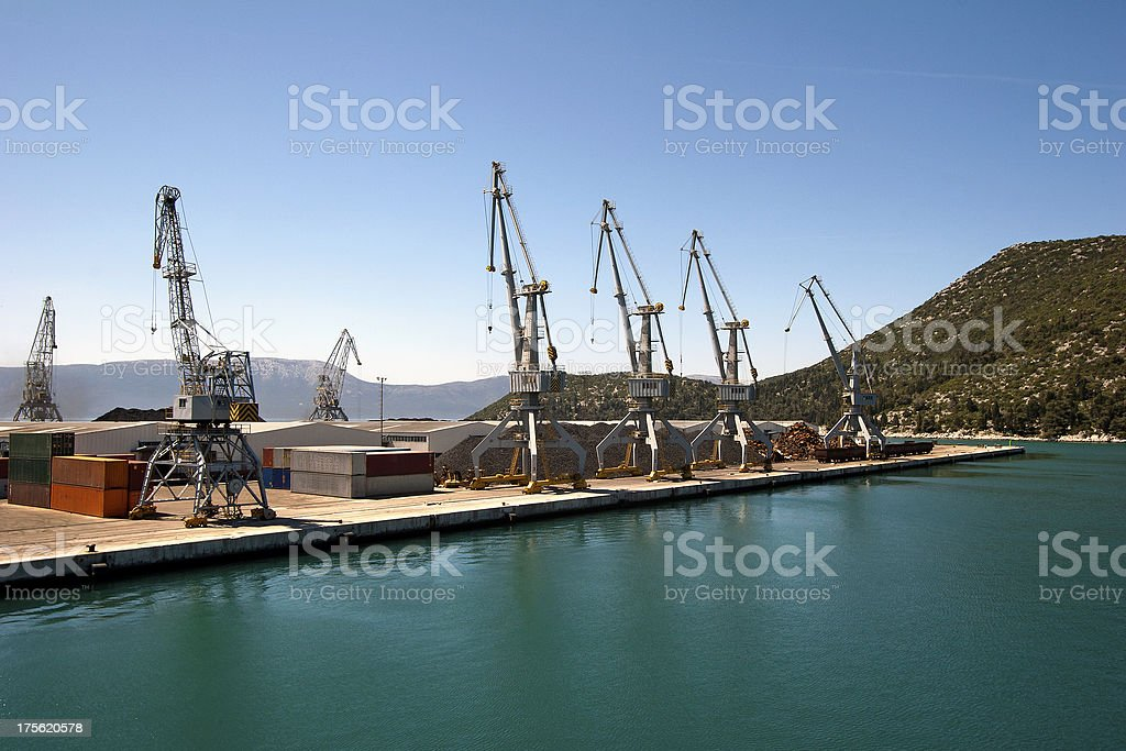 Cranes in the harbor royalty-free stock photo