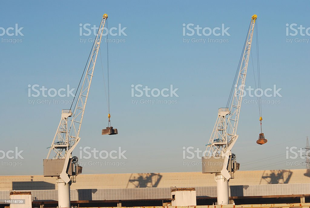 Cranes in the port of Antwerp royalty-free stock photo
