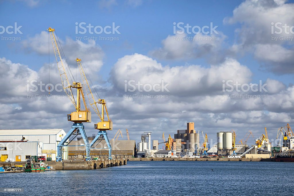 Cranes in the port of Brest, France stock photo