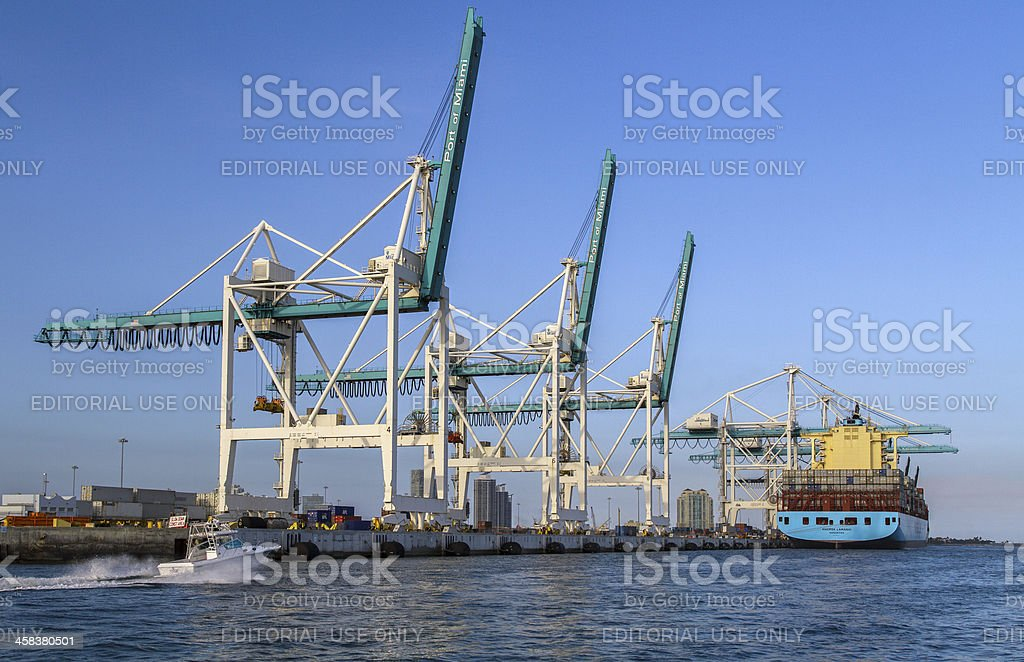 Cranes in the Port of Miami. royalty-free stock photo