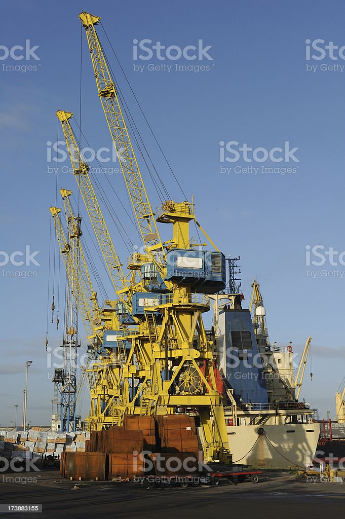 Cranes in the port stock photo