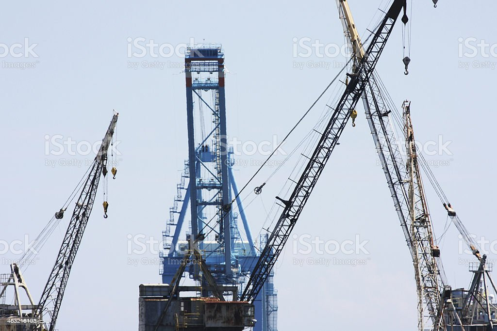 Cranes Loading Unloading Export Cargo Freight royalty-free stock photo