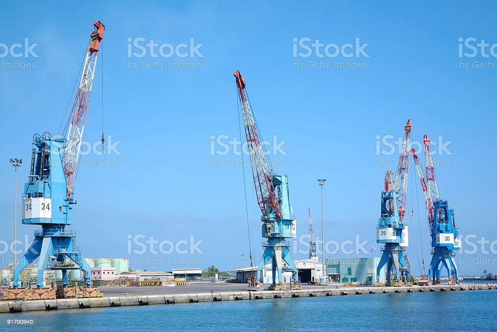 cranes on a cargo pier royalty-free stock photo
