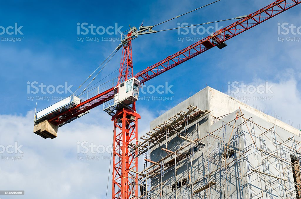 Cranes on a construction site. royalty-free stock photo