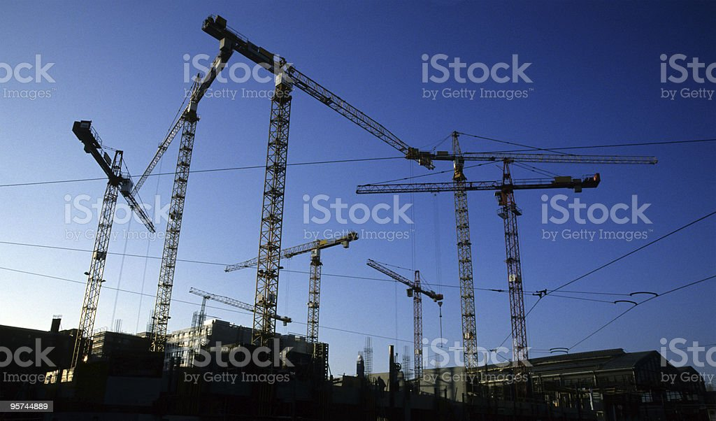 Cranes on construction site, Germany, Berlin royalty-free stock photo
