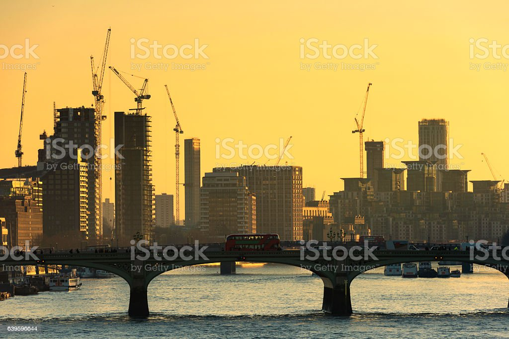 Cranes on the London Skyline stock photo