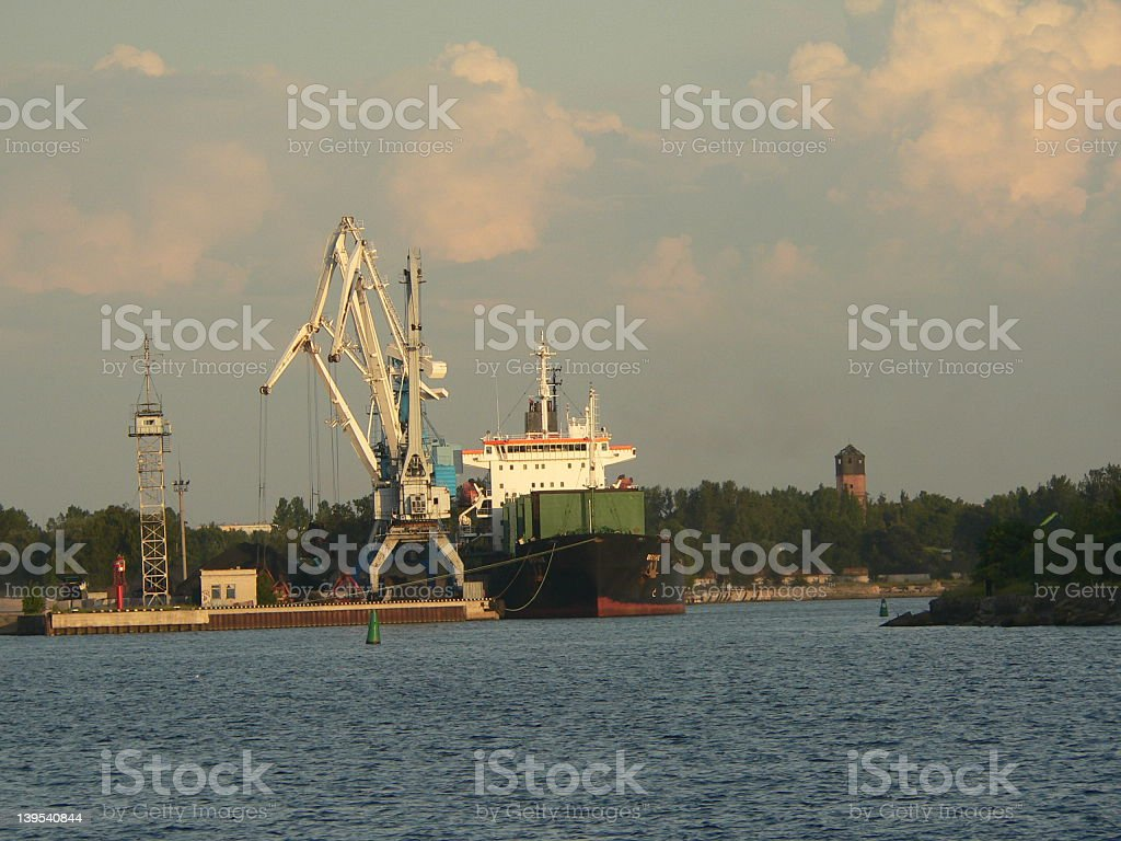Cranes shiping vessel stock photo