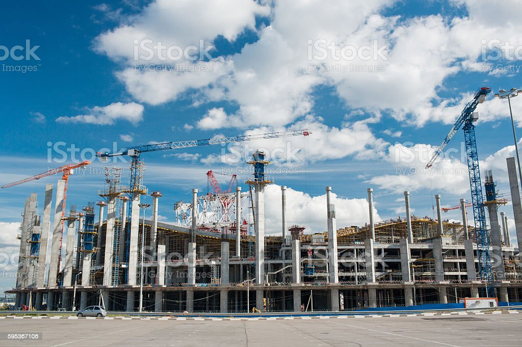 Cranes working on stadium build or reconstruction to World Cup stock photo