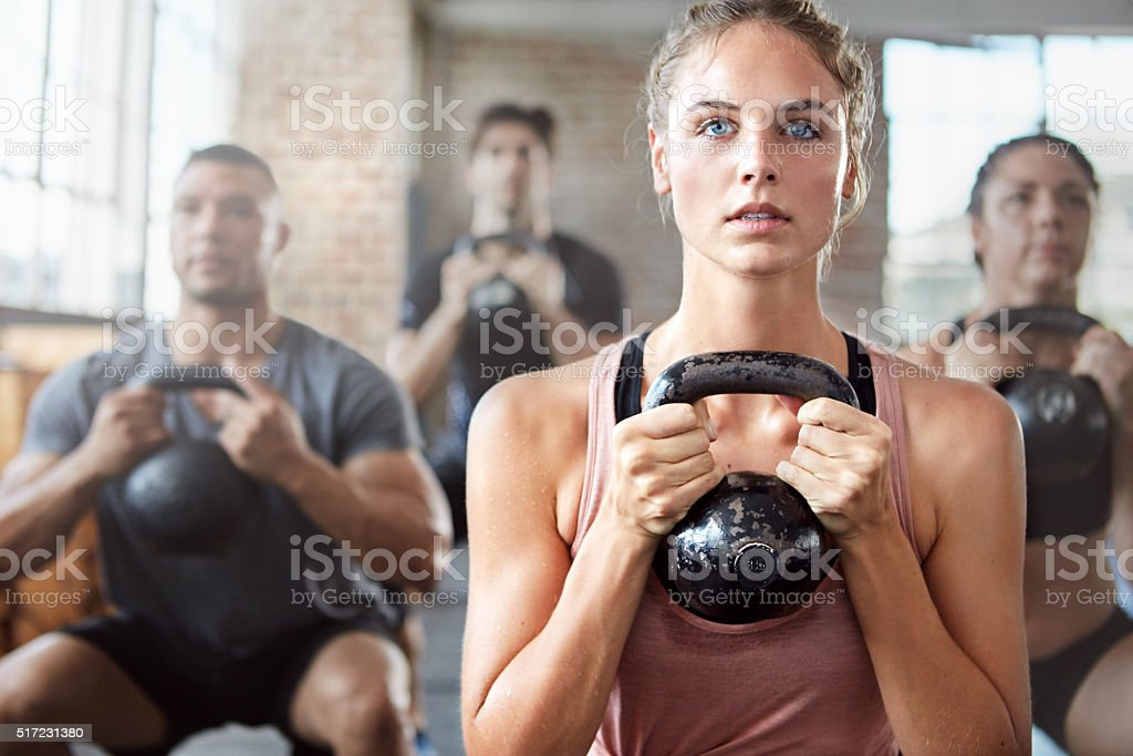 Cranking their workout up a notch! stock photo