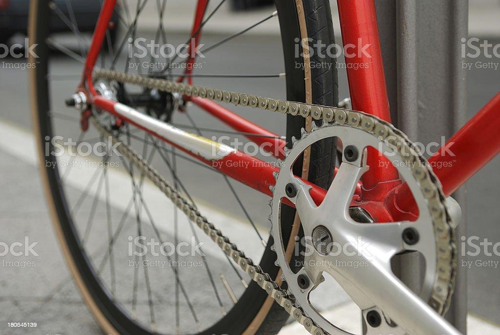crankset on red bicycle stock photo