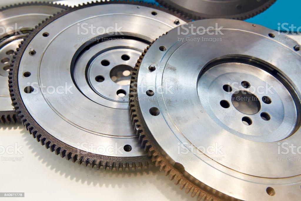 Crankshaft flywheels stock photo