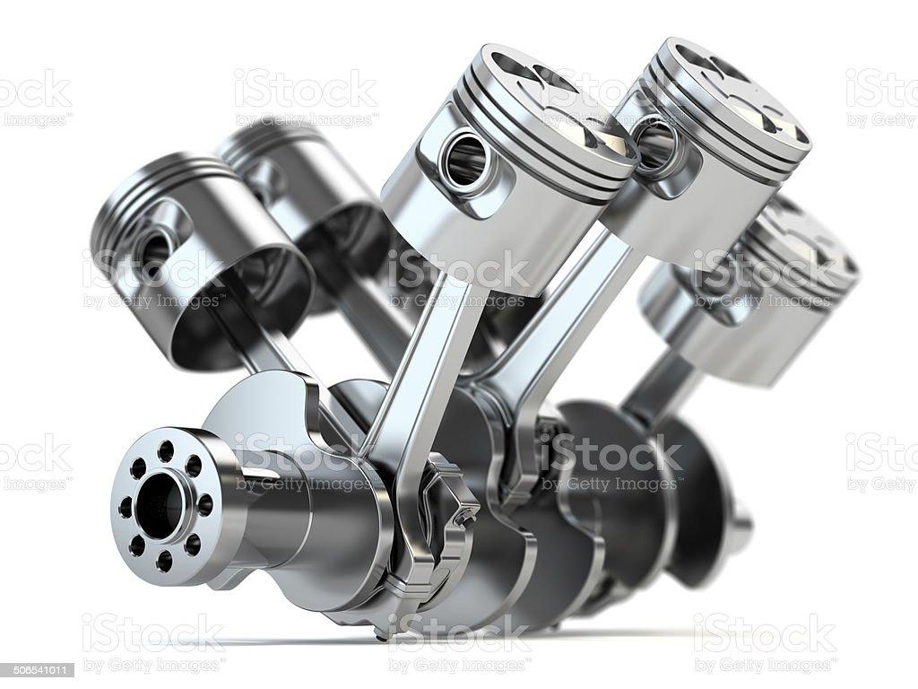 Crankshaft V6 engine stock photo