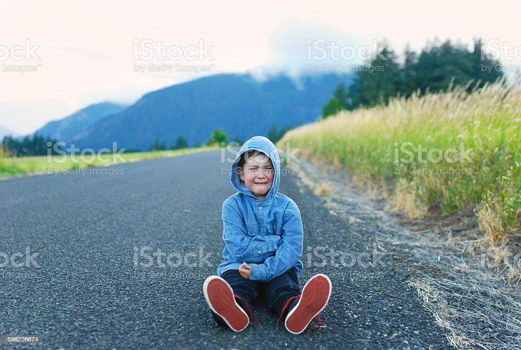 Cranky boy stock photo