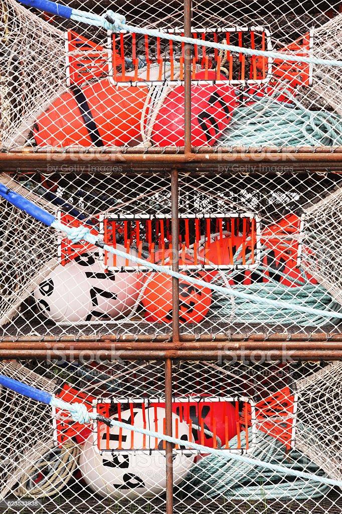 Crap Pots Fish Traps Buoys Ropes Nets stock photo