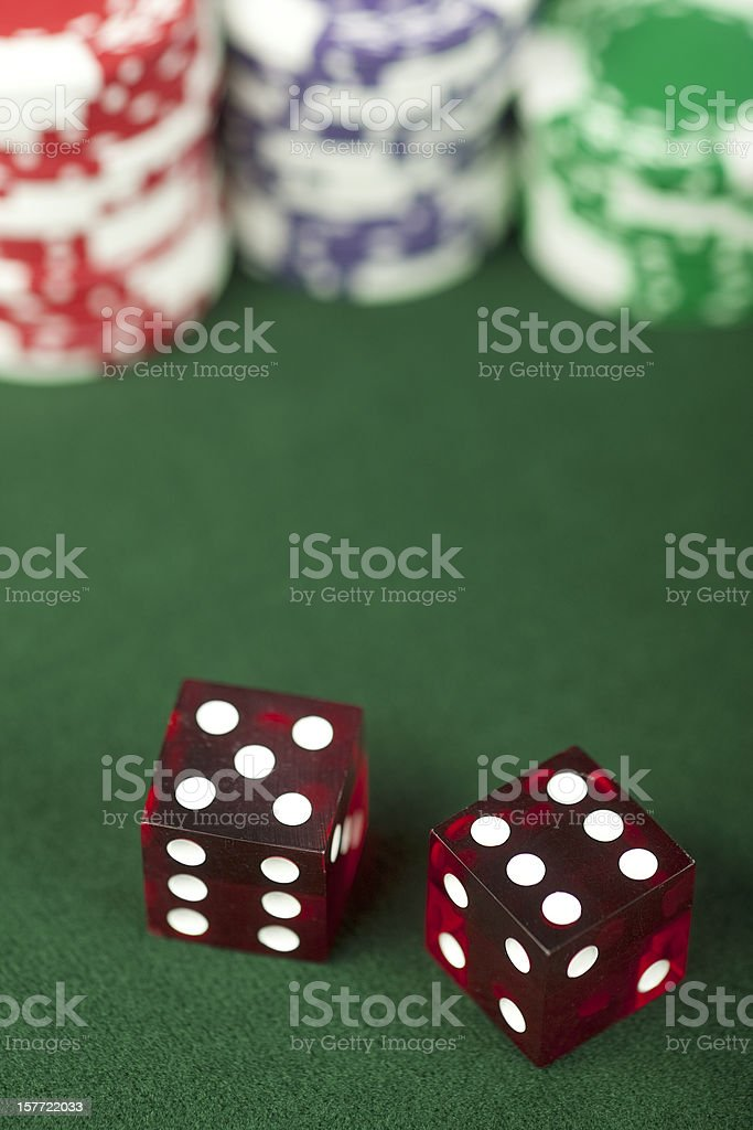 Craps 11, Wins on Pass Bet, Casino, Dice, Gambling Chips royalty-free stock photo