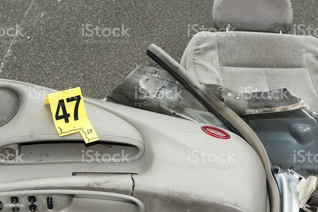DUI crash car and evidence marker royalty-free stock photo